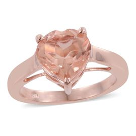 Galileia Blush Pink Quartz (Hrt) Solitaire Ring in Rose Gold Overlay Sterling Silver 3.750 Ct.