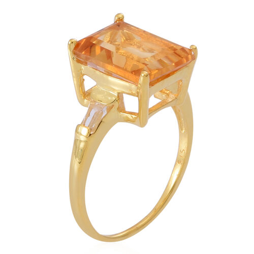 Citrine (Oct 7.00 Ct), White Topaz Ring in 14K Gold Overlay Sterling Silver 7.250 Ct.