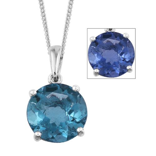 Colour Change Fluorite (Rnd) Solitaire Pendant With Chain in Platinum Overlay Sterling Silver 4.000 Ct.