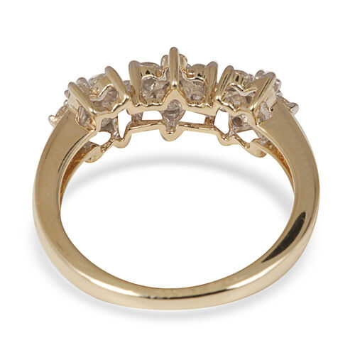 9K Y Gold SGL Certified Diamond (Rnd) (I3/G-H) Floral Ring 0.500 Ct.