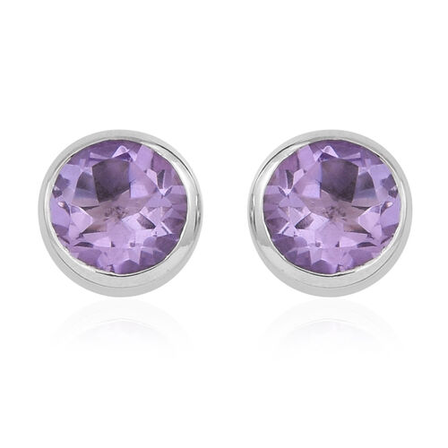 Rose De France Amethyst (Rnd) Stud Earrings (with Push Back) in Rhodium Plated Sterling Silver 3.500 Ct.