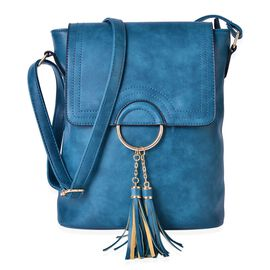 Turquoise Colour Crossbody Bag with External Zipper Pocket and Adjustable Shoulder Strap and Tassels (Size 29x26x10 Cm)