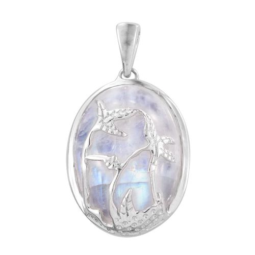 Rainbow Moonstone (Ovl) Nature Inspired Pendant in Platinum Overlay Sterling Silver 16.750 Ct.