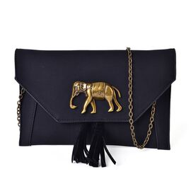 Black Colour Elephant Clutch Bag with Tassels and Chain Strap (Size 24x16 Cm)