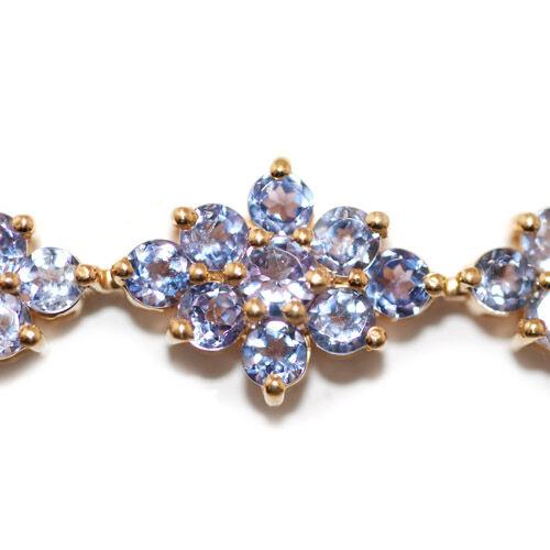 Tanzanite (Rnd) Bracelet in 14K Gold Overlay Sterling Silver (Size 7.5) 11.00 Ct.