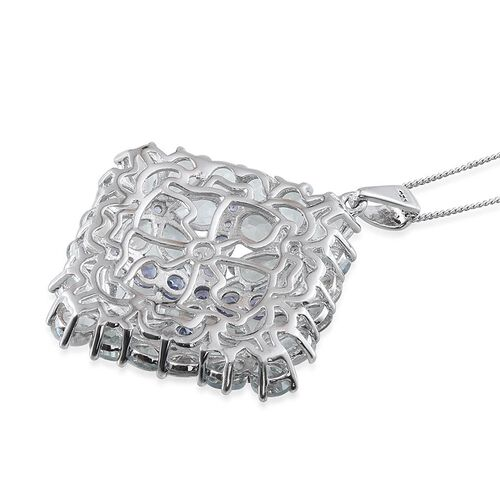 Espirito Santo Aquamarine (Pear), Tanzanite Floral Pendant With Chain in Platinum Overlay Sterling Silver 11.750 Ct.