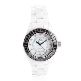 Monchic Natural Crystal Quartz (0.15 Ct),Swarovski Crystal and Diamond Steel Mix Metal Watch  0.305  Ct.