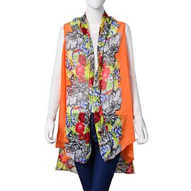 Rose Red, Green, Black and Multi Colour Floral and Leaves Pattern Orange Colour Poncho (Free Size)