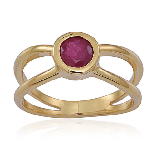 Burmese Ruby (Rnd) Solitaire Ring in 14K Gold Overlay Sterling Silver 1.000 Ct.