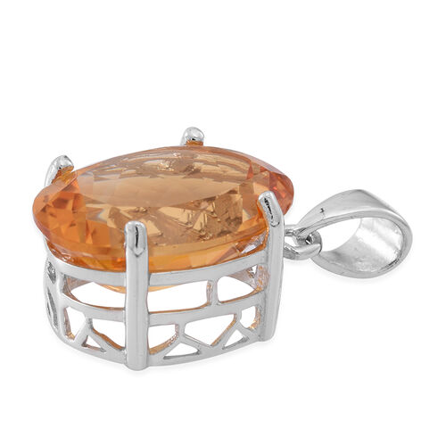 AAA Rare Size Uruguay Citrine (Ovl) Pendant in Rhodium Plated Sterling Silver 11.000 Ct.