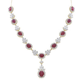 African Ruby and  White Topaz Necklace (Size 18) in 14K Gold Overlay Sterling Silver Ruby 29.76  Ct Total  50.000 Ct.