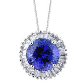 RHAPSODY 950 Platinum 5.18 Ct AAAA Tanzanite and Diamond Halo Pendant With Chain