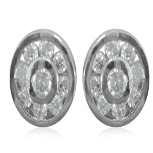 ELANZA AAA Simulated Diamond (Rnd) Stud Earrings (with Push Back) in Rhodium Plated Sterling Silver