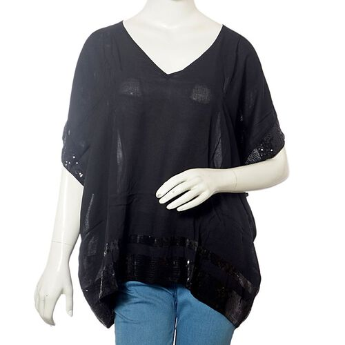 Black Colour Loose Fit Top with Black Sequins at the Border (Free Size)