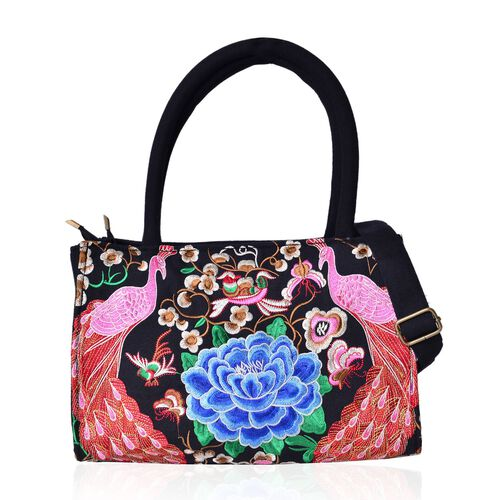 Shanghai Collection Blue, Pink and Multi Colour Peacock and Floral Pattern Black Colour Tote Bag with Adjustable and Removable Shoulder Strap (Size 32x24x16 Cm)