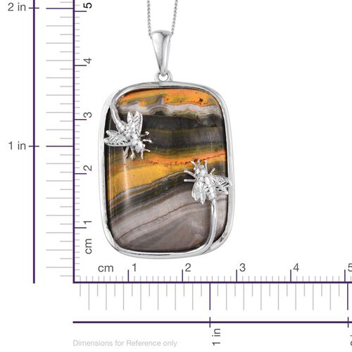 Bumble Bee Jasper (Cush) Pendant with Chain in Platinum Overlay Sterling Silver 39.000 Ct.