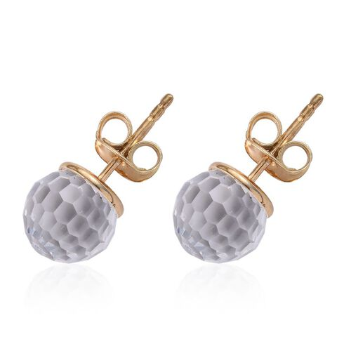 Crystal from Swarovski - White Crystal Stud Earrings (with Push Back) in 14K Gold Overlay Sterling Silver