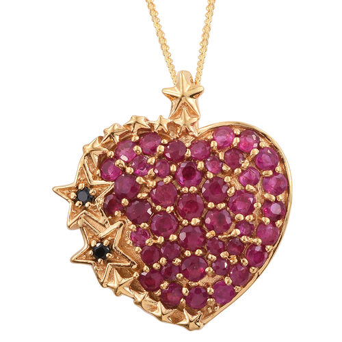 GP Burmese Ruby (Rnd), Boi Ploi Black Spinel and Kanchanaburi Blue Sapphire Heart Star Pendant With Chain in 14K Gold Overlay Sterling Silver 2.250 Ct.
