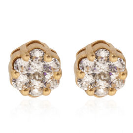 Crystal from Swarovski - White Crystal (Rnd) Stud Earrings (with Push Back) in 14K Gold Overlay Sterling Silver 0.650 Ct.