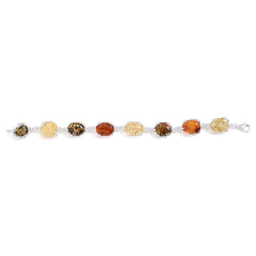 Tucson Collection Baltic Amber Bracelet in Sterling Silver (Size 7.5) 25.000 Ct.