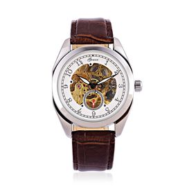 GENOA Automatic Skeleton White Dial Water Resistant Watch in Silver Tone With Stainless Steel Back and Genuine Leather Chocolate Strap