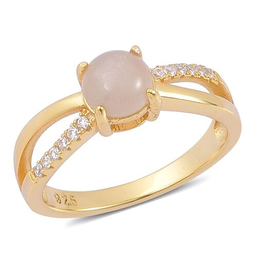 Moonstone Grey and Simulated White Diamond Ring in Yellow Gold Overlay Sterling Silver 1.000 Ct.