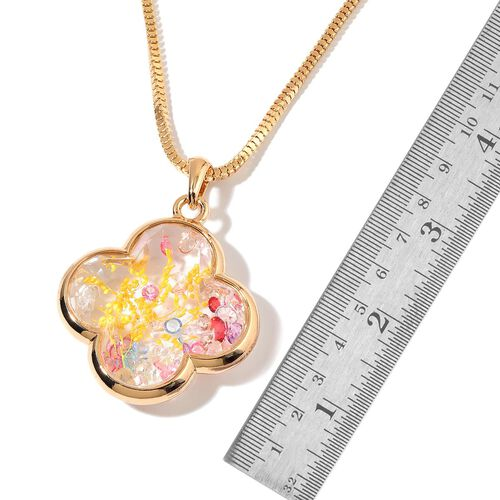Gold Tone Pendant With Chain with Multi Colour Crystal and Yellow Flower Inside
