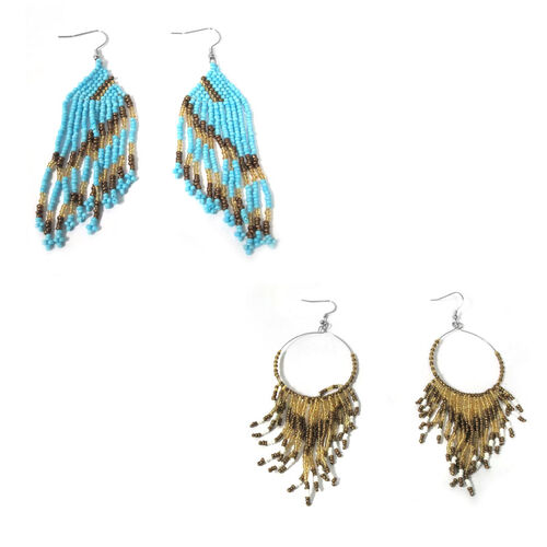 Set of 2 - Blue, Yellow, Brown and White Glass Dangle Hook Earrings in Stainless Steel