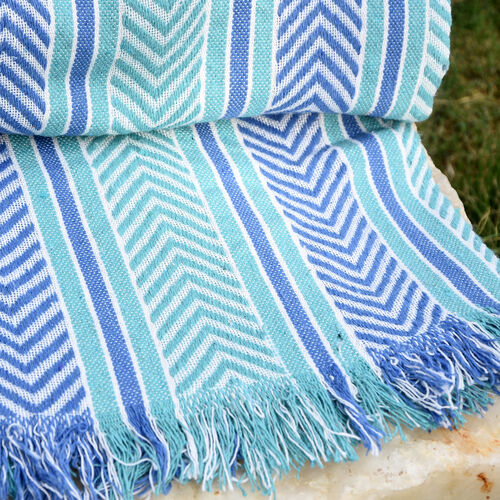 Green, Purple and White Colour Throw (Size 150x120 Cm)