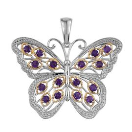 Natural Uruguay Amethyst (Rnd) Butterfly Pendant in Platinum and Yellow Gold Overlay Sterling Silver 2.500 Ct.Silver Wt 15.50 Gms