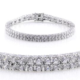 J Francis - Platinum Overlay Sterling Silver (Rnd) Bracelet Made with SWAROVSKI ZIRCONIA (Size 8) 13.200 Ct.
