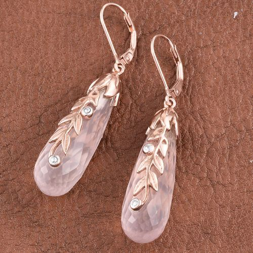 Kimberley Rose Quartz and Natural Cambodian Zircon Lever Back Earrings in Rose Gold Overlay Sterling Silver 48.100 Ct.