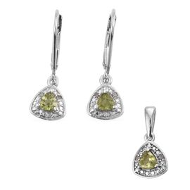 Hebei Peridot (Trl), Diamond Pendant and Lever Back Earrings in Platinum Overlay Sterling Silver 0.750 Ct.