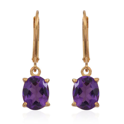 Amethyst (Ovl) Lever Back Earrings in 14K Gold Overlay Sterling Silver 3.500 Ct.