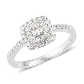 ILIANA 18K W Gold IGI Certified Diamond (Rnd 0.10 Ct) (SI/ G-H) Ring 0.500 Ct.