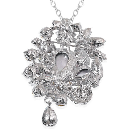 White Austrian Crystal and White Glass Brooch or Pendant With Chain in Silver Tone