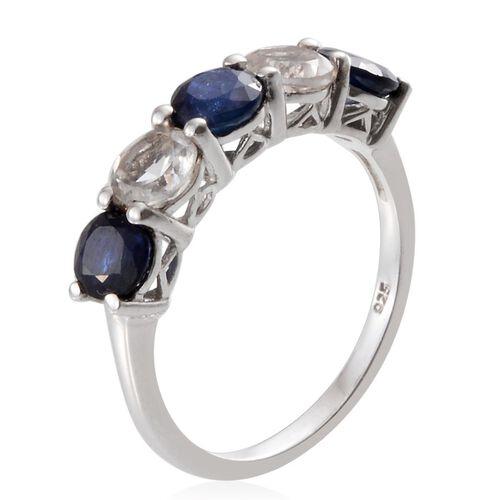Kanchanaburi Blue Sapphire (Rnd), White Topaz Ring in Platinum Overlay Sterling Silver 2.750 Ct.