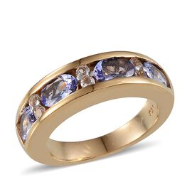 Tanzanite (Ovl), White Topaz Half Eternity Band Ring in 14K Gold Overlay Sterling Silver 2.150 Ct.