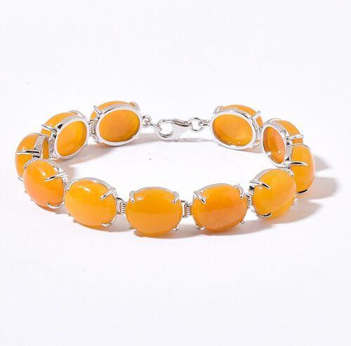Honey Jade (Ovl) Bracelet (Size 7.5) in Platinum Overlay Sterling Silver 71.750 Ct.