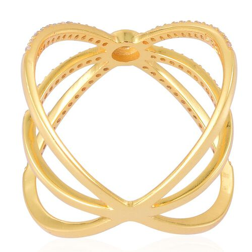 ELANZA AAA Simulated White Diamond Criss Cross Ring in Yellow Gold Overlay Sterling Silver