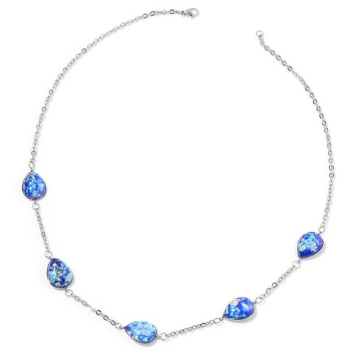 Simulated Blue Opal Station Necklace (Size 24) in Stainless Steel