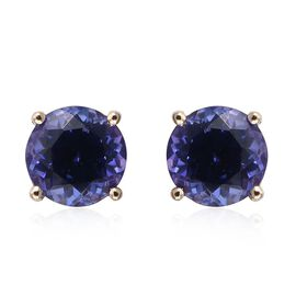 14K Y Gold Tanzanite (Rnd) Stud Earrings (with Push Back) 1.000 Ct.