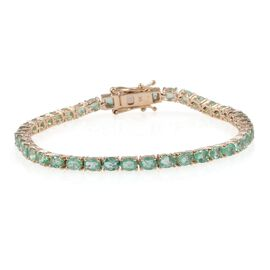 9K Yellow Gold 7 Carat Boyaca Colombian Emerald Oval Tennis Bracelet - Size 7.