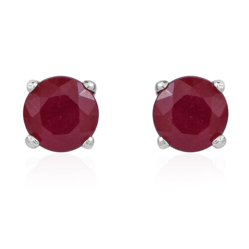 AA African Ruby (Rnd) Stud Earrings (with Push Back) in Rhodium Plated Sterling Silver 2.500 Ct.