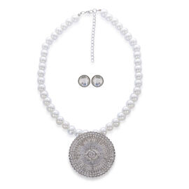 White Glass Pearl, White Austrian Crystal and White Glass Necklace (Size 17 with Extension) and Earrings (With Push Back) in Silver Tone