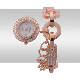 STRADA Japanese Movement White Dial White Austrian Crystal Water Resistant Watch in Rose Gold Tone Strap
