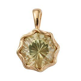 Brazilian Green Gold Quartz (Octillion Cut) Solitaire Pendant in 14K Gold Overlay Sterling Silver 4.500 Ct.
