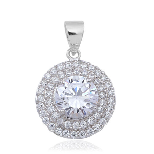 ELANZA AAA Simulated Diamond (Rnd) Pendant in Rhodium Plated Sterling Silver