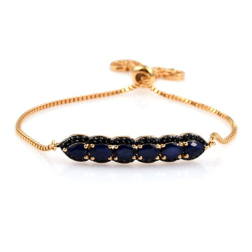 GP Diffused Blue Sapphire (Ovl), Boi Ploi Black Spinel and Kanchanaburi Blue Sapphire Adjustable Bracelet (Size 8) in 14K Gold Overlay Sterling Silver 4.000 Ct.