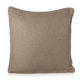 Ivory Beige Colour Weave Pattern Cushion (Size 42x42 Cm)